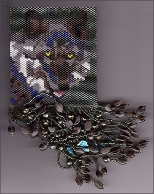 beaded wolf pouch by Jane
